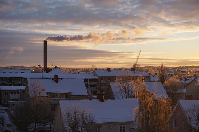 domy, střechy, zima, topení